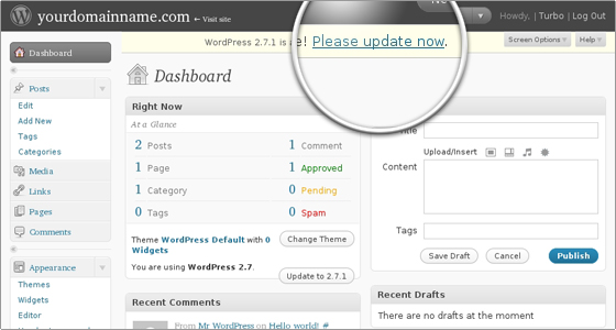 Cómo actualizar WordPress desde wp-admin
