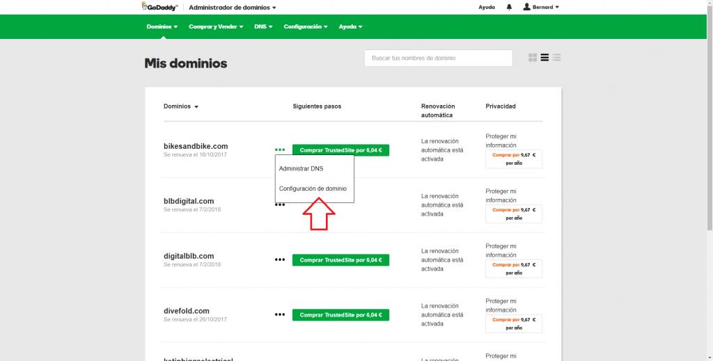 Imagen de configuración de dominio de GoDaddy