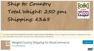 Weight/Country Shipping for WooCommerce woocommerce plugin
