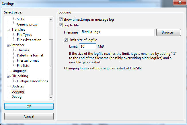 Revisar logs de FTP