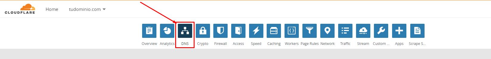 Administración de CloudFlare para configurar tus nombres de dominio