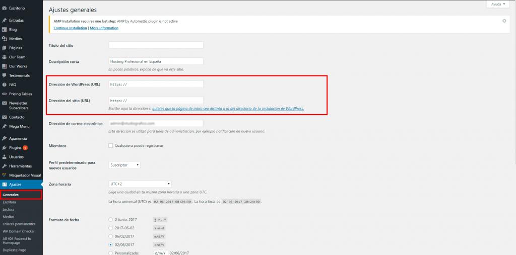 Configurar URLs de dominio en WordPress
