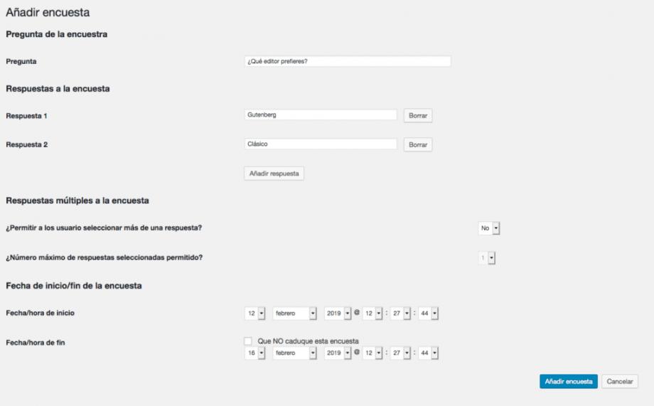 Cómo colocar encuestas en WordPress