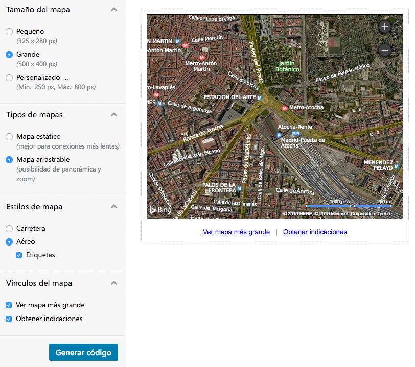 Cómo utilizar un mapa de Bing en tu WordPress