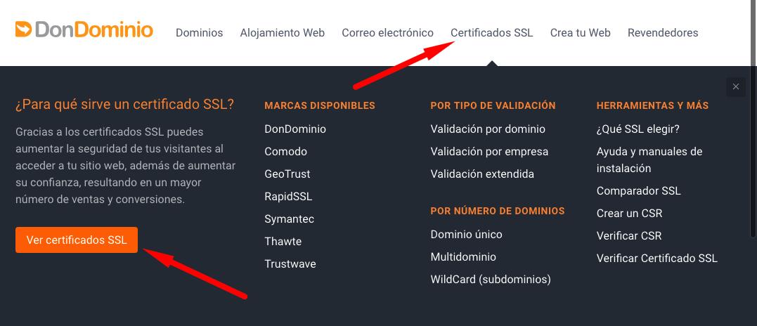 Cómo adquirir un certificado SSL en DonDominio