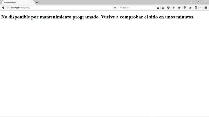 "Solución al error ""No disponible por mantenimiento programado"""