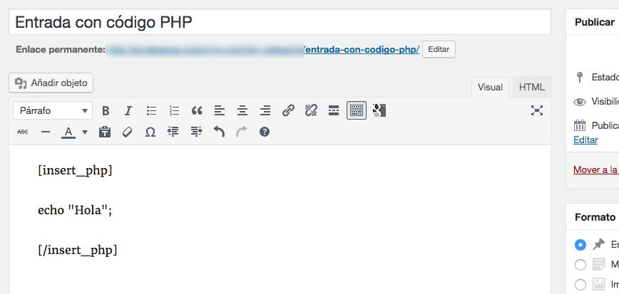 Cómo insertar códigos PHP en posts de WordPress