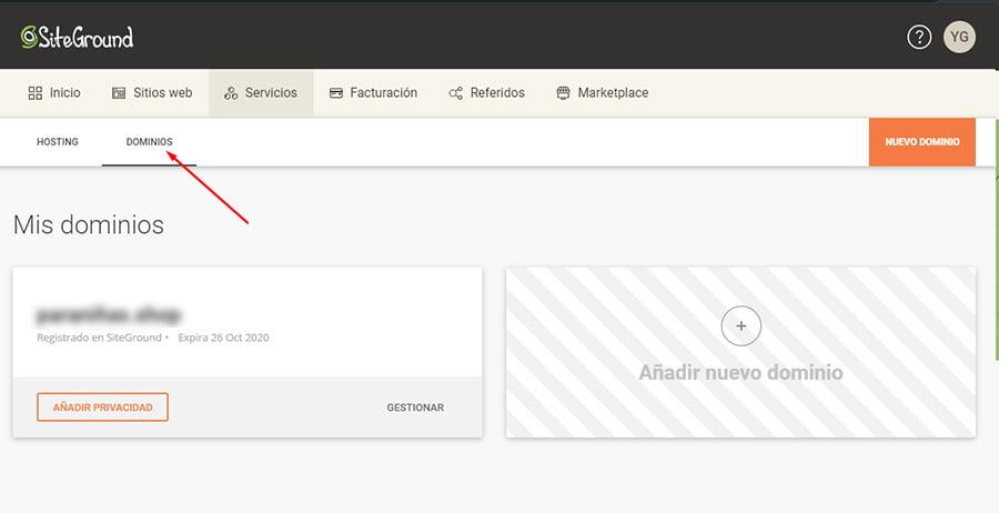 Gestión de dominios en Siteground