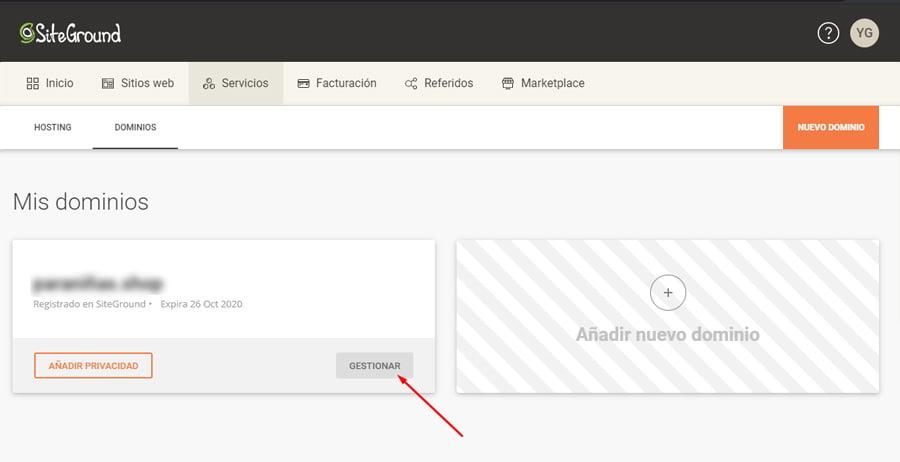 Mis dominios en SiteGround