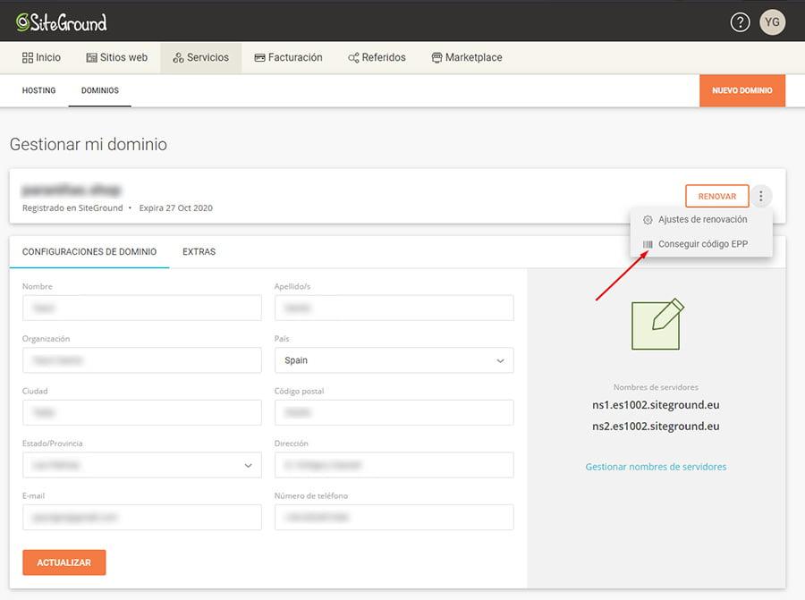 Gestionar dominio en SiteGround