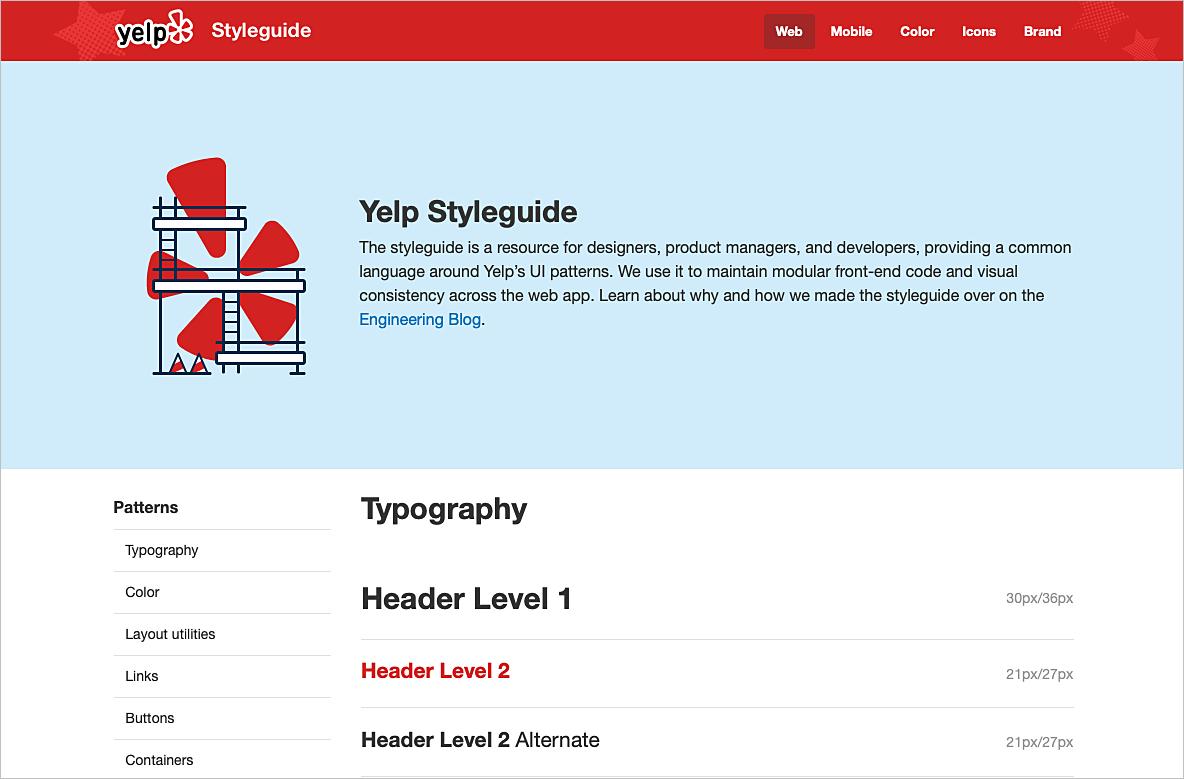 Ejemplos de construcción de guías de estilo de diseño web