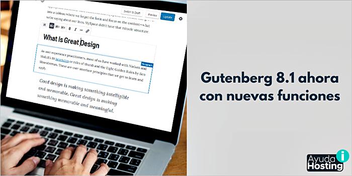 Gutenberg 8.1 ahora con nuevas funciones