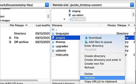 Cómo desactivar todos los plugins cuando no es posible ingresar a WP-Admin
