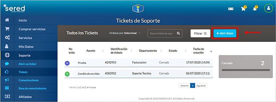 Cómo crear tickets de soporte desde el área de clientes
