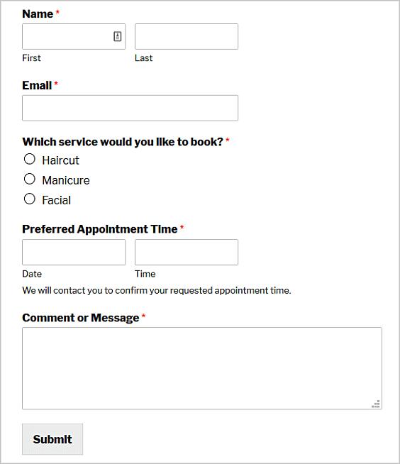 Diferentes tipos de formularios de WordPress